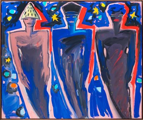 Elvira Bach, Drei Königinnen aus dem Morgenland 1983 Polyester resin paint on canvas
